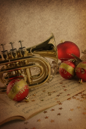 Christmas music on vintage background Stock Photo