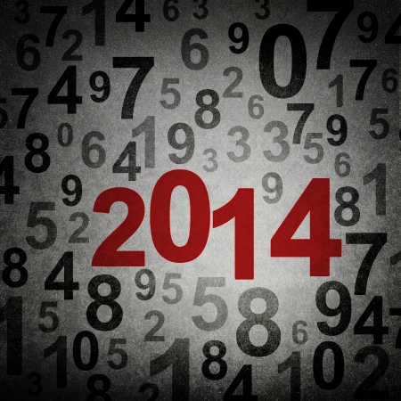 New year 2014 on numbers fabric background photo