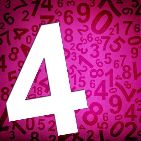 Number four on fabric texture background photo