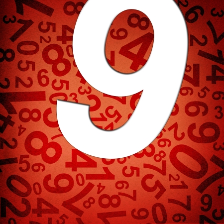 8 9: Number nine on fabric texture background