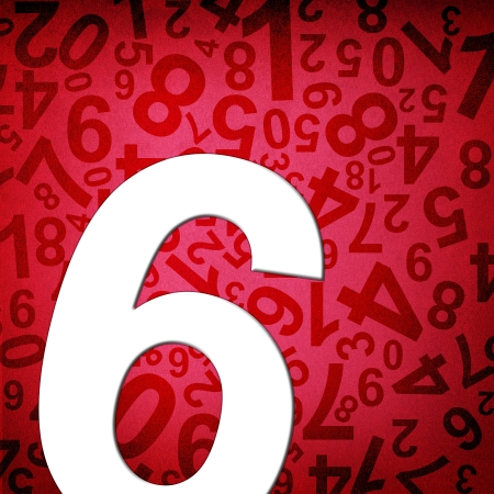 Number six on fabric texture background photo
