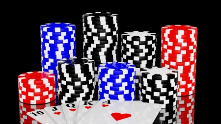 Casino chips and a royal straight flush playing cards poker hand photo