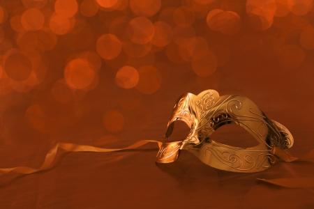 masquerade masks: Vintage golden carnival mask