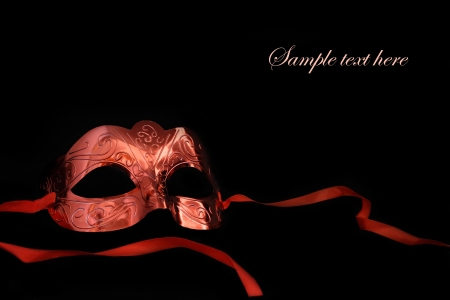 masked woman: Vintage carnaval m�scara sobre fondo negro Foto de archivo