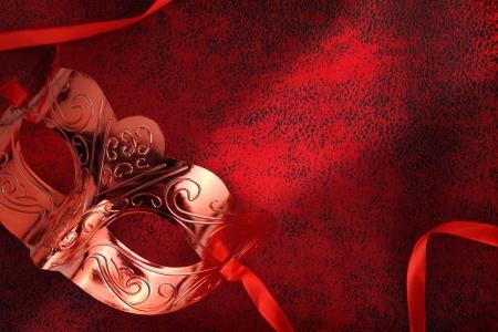 masked woman: Vintage m�scara de carnaval en rojo