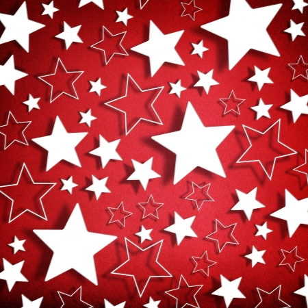 christmas music: Stars on vintage grunge red background Stock Photo
