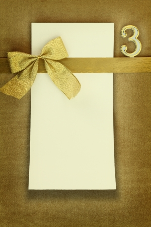three wishes: Happy birthday card on golden background