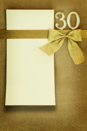 30 years: Anniversary card on golden background Stock Photo