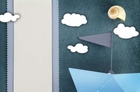 name day: Blank banner and blue boat on fabric background Stock Photo