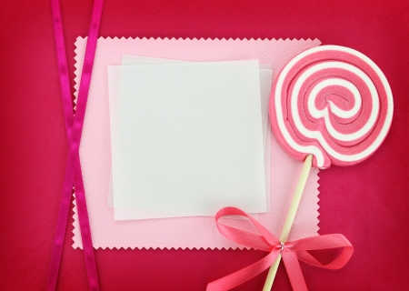 lolly pop: Blank card with lollipop on pink background