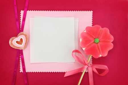 Flower-Heart lollipop and paper greeting card photo