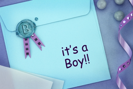 baby announcement: Baby blue envelope with sealing wax stamp