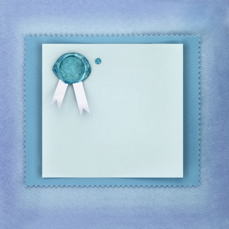sealing wax: Greeting paper card with sealing wax stamp on blue background