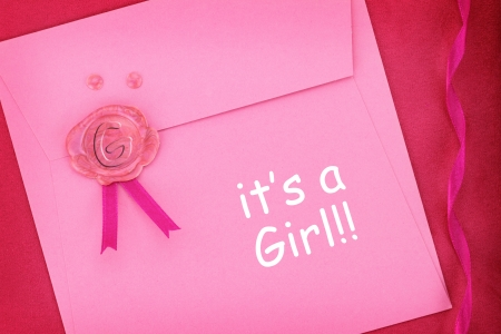 Baby pink envelope with sealing wax stamp photo
