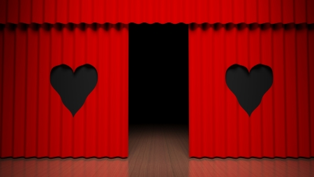 stagy: Red curtain on theater stage with heart design Stock Photo