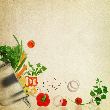 ustensiles de cuisine: Mod�le de recette. L�gumes frais sur la texture de tissu Banque d'images