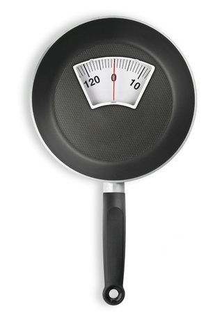 kitchen scale: Diet meal. Frying pan with weight scale