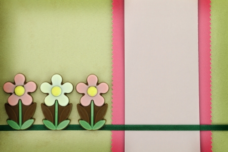 Chocolate flowers and paper greeting card photo