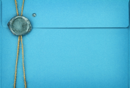 sealing wax: Blue envelope with sealing wax stamp  Stock Photo