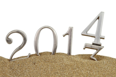 New year 2014 on the sand photo