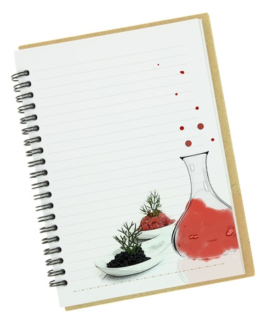 Molecular gastronomy painting on blank notebook page  photo