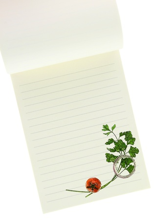Recipe  book. Parsley and cherry tomato painting on blank notebook page Stock Photo - 18422344