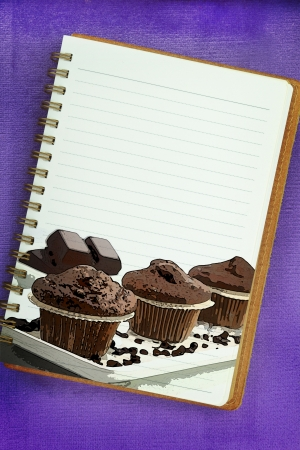 Recipe book, muffins painting on blank notebook page Stock Photo - 18422459