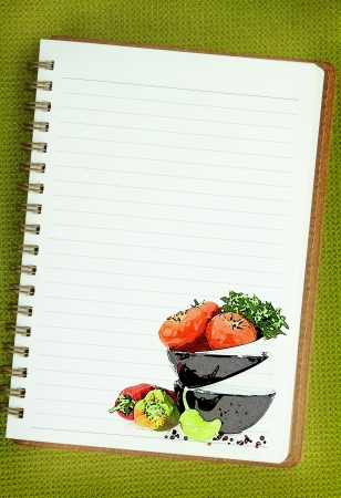 Recipe  book. Vegetables painting on blank notebook page Stock Photo - 18422425