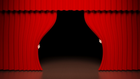 stagy: Red curtain on theater stage