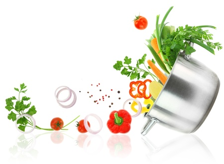 Fresh vegetables coming out from a stainless steel casserole pot Stock Photo - 18422342