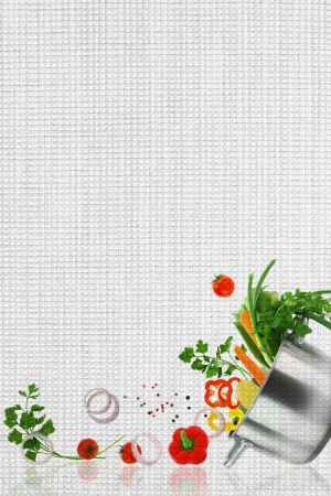 Recipe template. Fresh vegetables on fabric texture photo