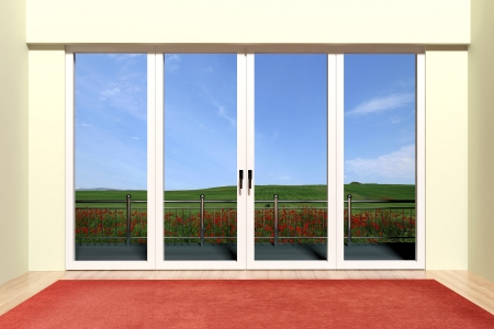 Modern aluminum window with beautiful view  photo