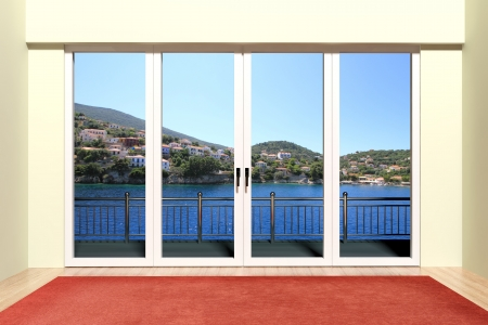 Modern aluminum window with beautiful view  Stock Photo - 18421456