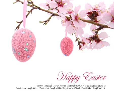 easter tree: Easter eggs hanging on the almond branch Stock Photo