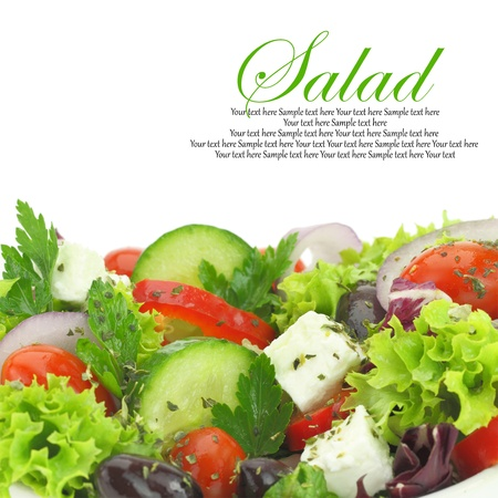greek chef: Close up of fresh mixed vegetables salad