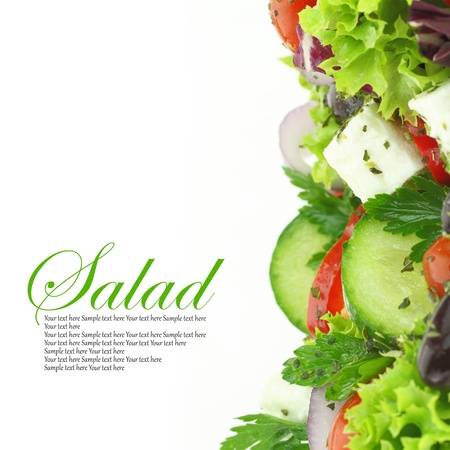 ensalada verde: Close up de ensalada de verduras frescas mixtas