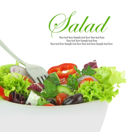 green salad: Fresh mixed vegetables salad in a bowl