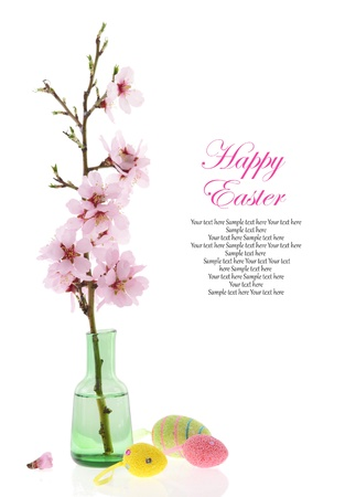 Easter decoration, Almond branch in a bottle and Easter eggs on white background photo