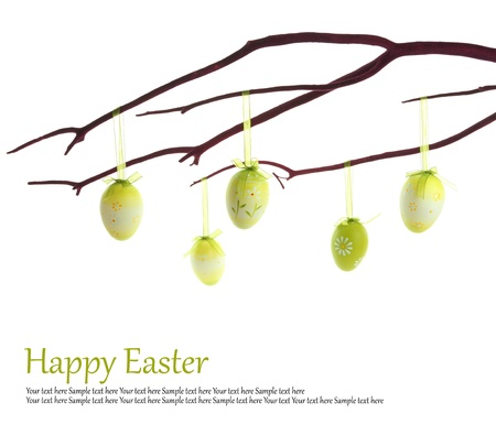 easter tree: Easter eggs hanging on a branch Stock Photo
