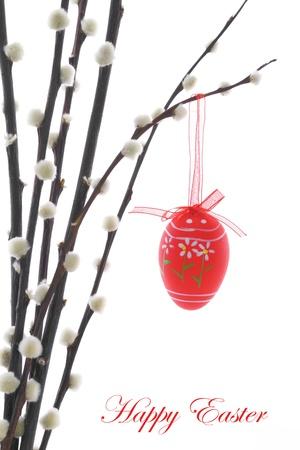 arbol de pascua: Huevos de Pascua colgando de una rama de sauce co�o Foto de archivo