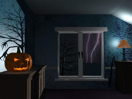 rain window: Scary dark room on Halloween rainy night Stock Photo