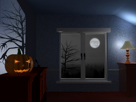dark room: Scary dark room on Halloween night Stock Photo