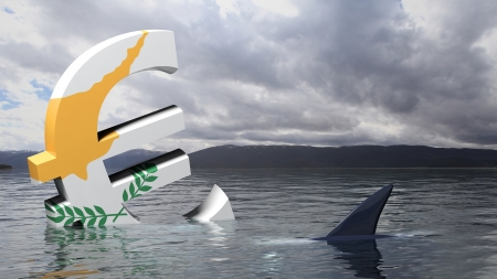 budget crisis: Euro symbol with Cyprus flag sinking in the water