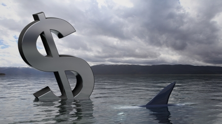 ahogarse: Hundimiento del dólar símbolo en el agua