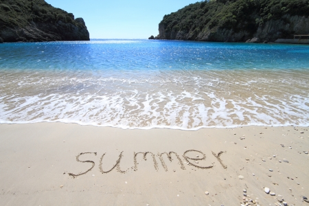 Summer written on sandy beach photo
