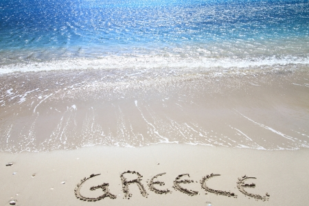 Greece written on sandy beach Stock Photo - 18783591