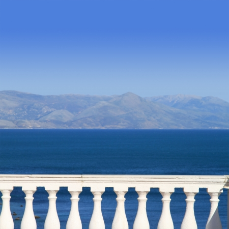 ionian island: View to Mediterranean sea from a balcony