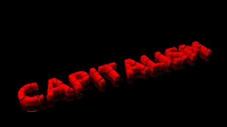 capitalismo: Crashed capitalism, word broken into red pieces on black background