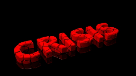 disastrous: Crashed crisis, word broken into red pieces on black background