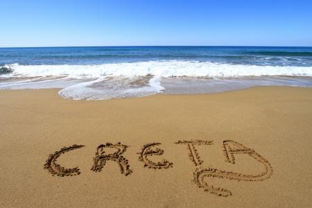 Creta written on sandy beach Stock Photo - 18931601